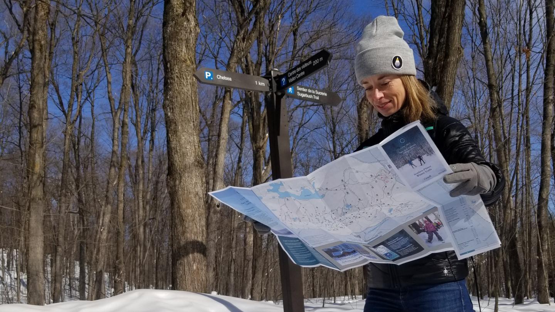 Munissez-vous d'une version papier de la carte des sentiers (disponible au Centre des visiteurs) pour ne pas être pris au dépourvu.