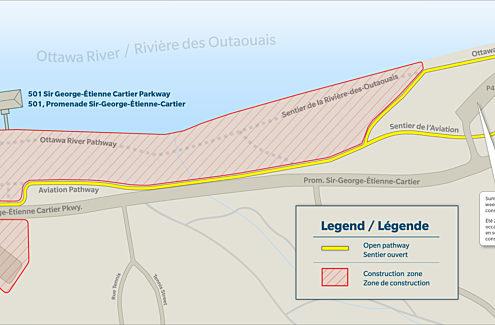 Plan de gestion de la circulation. La zone de construction est tracée en rouge et le sentier ouvert est tracé en jaune.