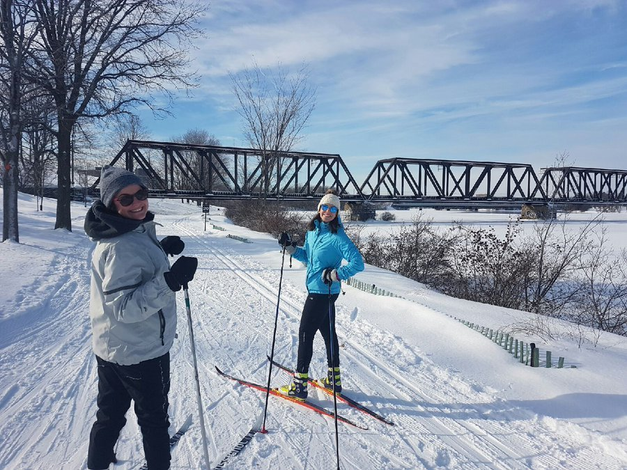 Skiers on the SJAM Winter Trail