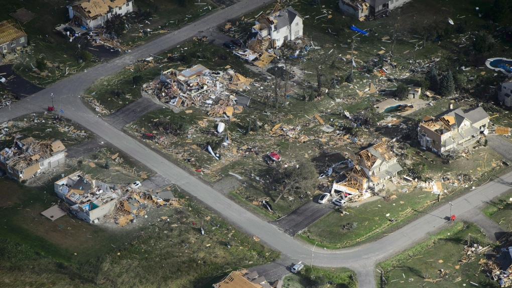 Damage from a tornado is seen in Dunrobin, Ont. west of Ottawa on September 22, 2018. Source: THE CANADIAN PRESS/Sean Kilpatrick